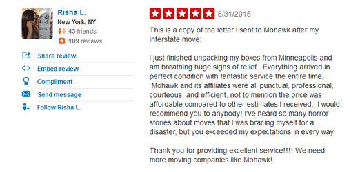 Mohawk Moving and Storage – Moving review