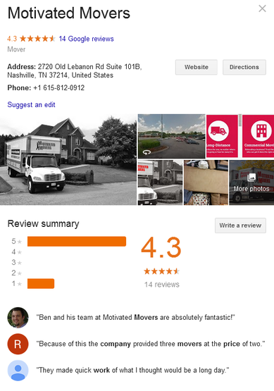 Motivated Movers – Location and reviews