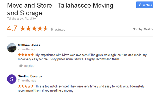Move and Store – Moving reviews