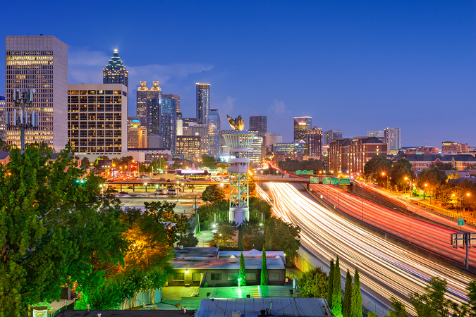 Move to Atlanta – City Skyline from Interstate 85