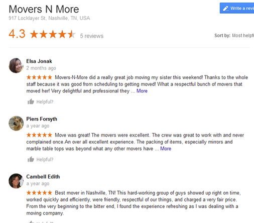 Movers N More – Moving reviews