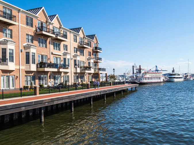 Moving to Baltimore means you can live in beautiful townhomes near the waterfront