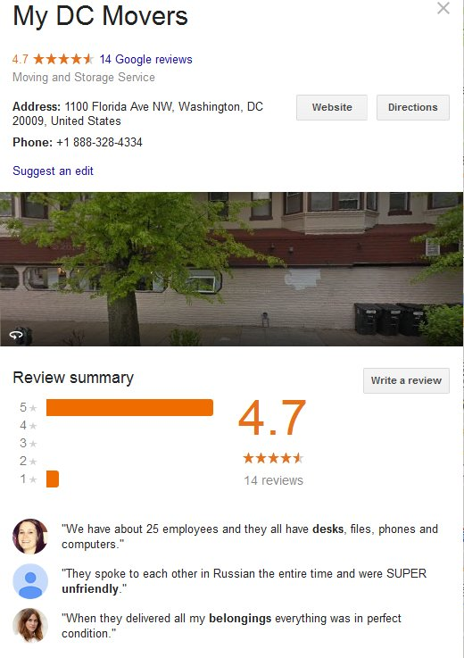 My DC Movers – Location and reviews