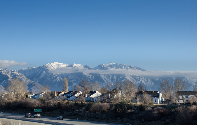 Neighborhoods in Salt Lake City – mountains covered in snow