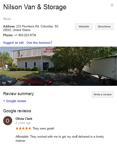 Nilson Van and Storage – Moving review