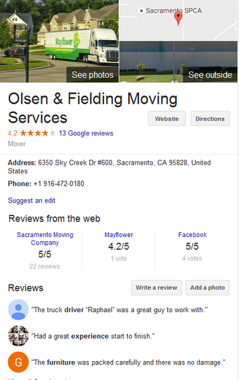 Olsen and Fielding Moving Services – Location