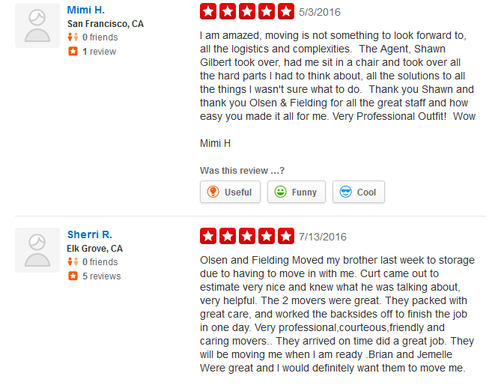 Olsen and Fielding Moving Services – Moving reviews