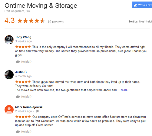 On Time Moving and Storage – Moving reviews