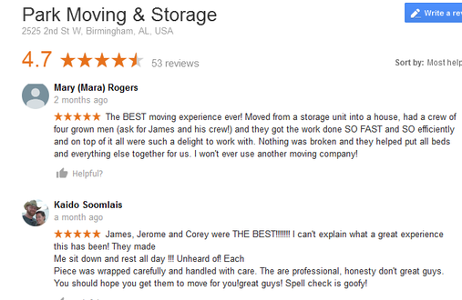 Park Moving and Storage - Moving reviews
