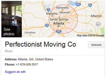 Perfectionist Moving Company – Location