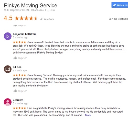 Pinkys Moving Service – Moving reviews