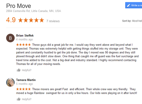 Pro Move – Moving reviews