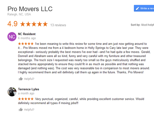 Pro Movers LLC - Moving reviews
