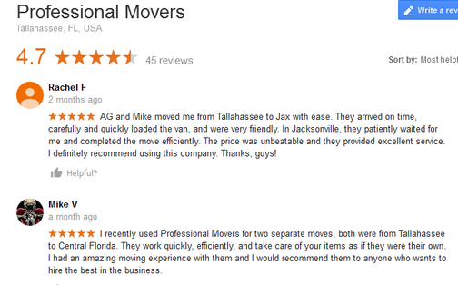 Professional Movers – Moving reviews