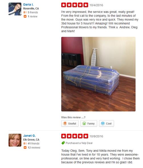 Professional Sacramento Movers – Moving reviews