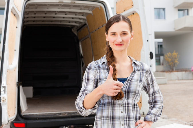 Professional movers have moving trucks of different sizes and complete moving equipment