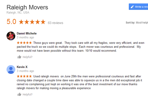 Raleigh Movers - Moving reviews
