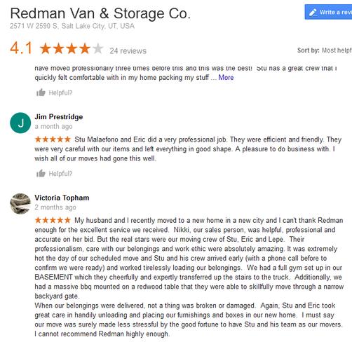 Redman Van and Storage - Moving reviews