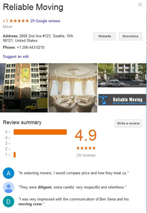 Reliable Moving – Location and reviews