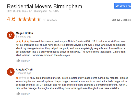 Residential Movers Birmingham - Moving reviews