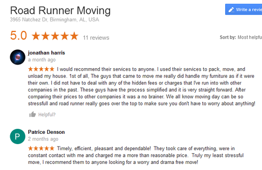 Road Runner Moving - Moving reviews