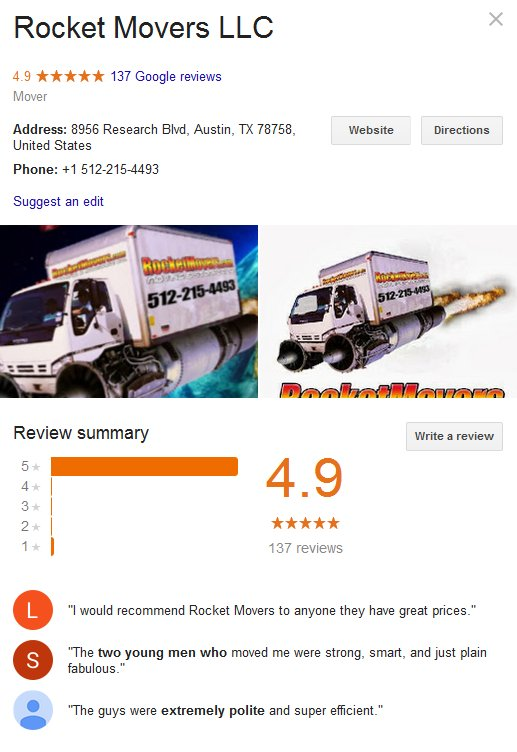 Rocket Movers LLC – Location and reviews