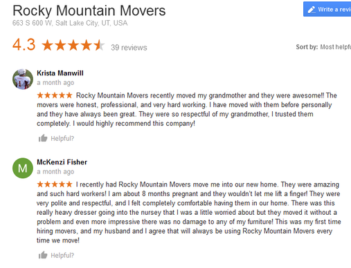 Rocky Mountain Movers - Moving reviews