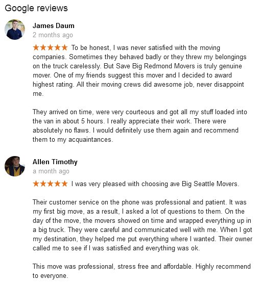 Save Big Seattle Movers – Moving reviews
