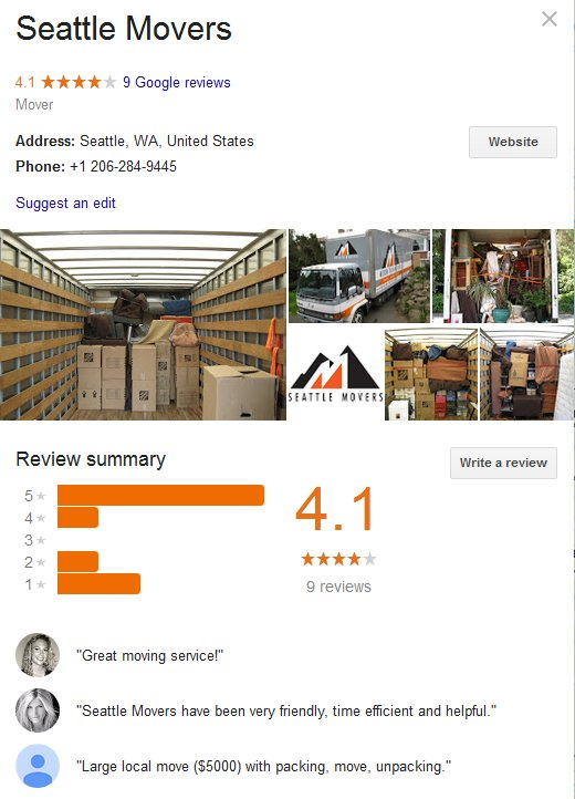 Seattle Movers – Location and reviews
