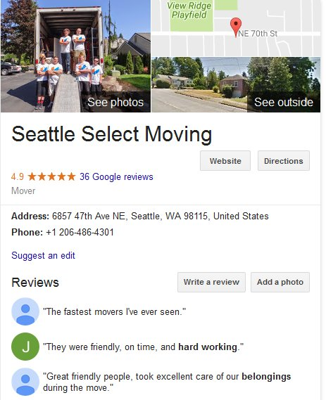 Seattle Select Moving – Location and reviews