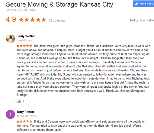 Secure Moving and Storage – Moving reviews