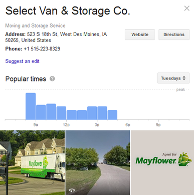 Select Van and Storage – Location