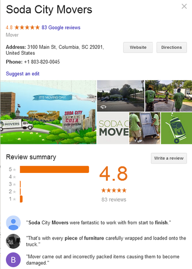 Soda City Movers – Location and reviews