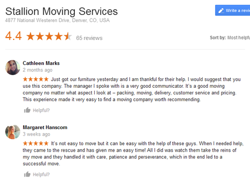 Stallion Services – Moving reviews