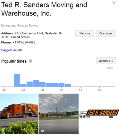 Ted R Sanders Moving and Warehouse – Location