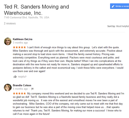Ted R Sanders Moving and Warehouse – Moving reviews