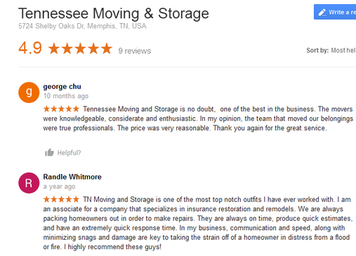 Tennessee Moving and Storage – Moving reviews