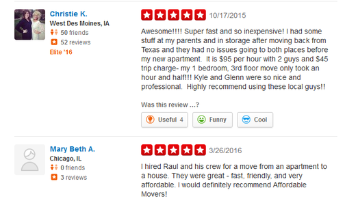 The Affordable Movers – Moving reviews