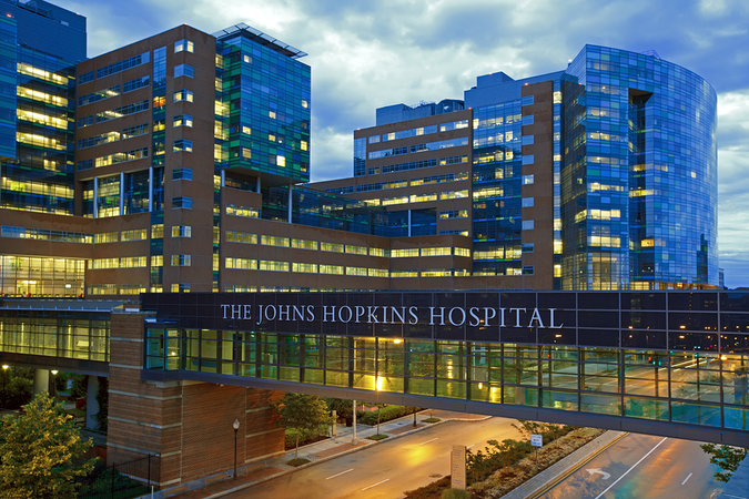 The John Hopkins Hospital is renowned as a teaching hospital and a biomedical research facility