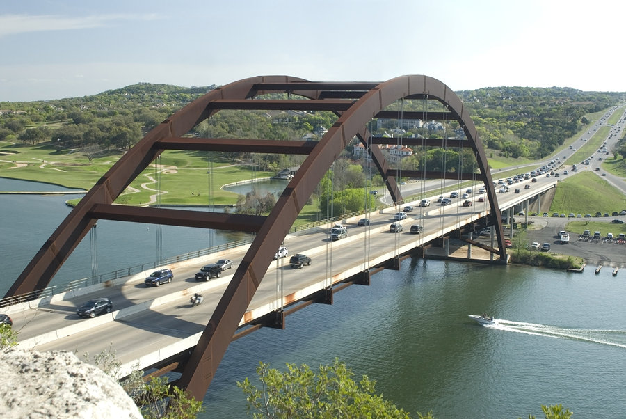The Pennybacker Bridge in Austin, Texas sees hundreds of new arrivals daily
