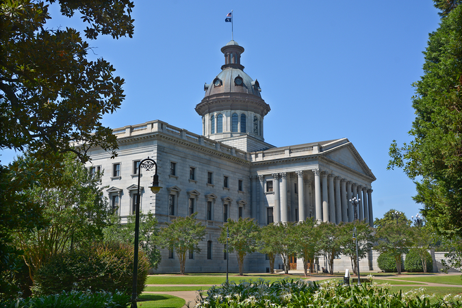 The South Carolina State House is one of many state and federal buildings in the city