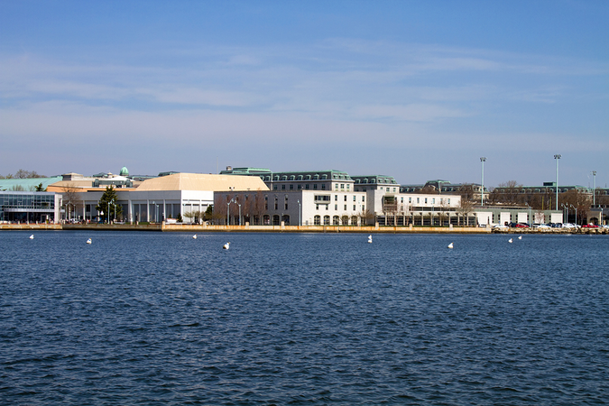 The US Naval Academy campus from across the Severn River in Annapolis, MD