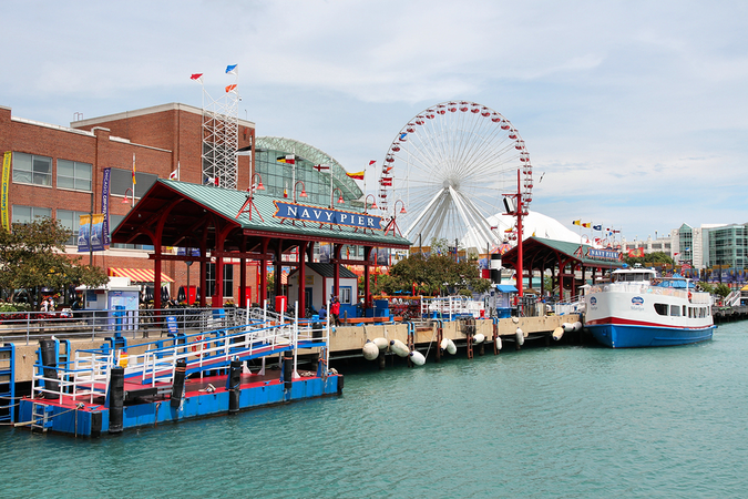 The famous Navy Pier in Chicago is a historical city landmark