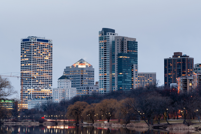 The lake in Milwaukee with office buildings and skyscrapers – Top 10 downtowns in America