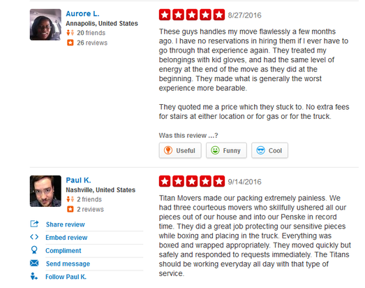 Titan Movers – Moving reviews