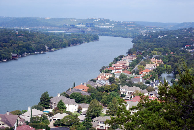 Towne Lake dotted with gorgeous lakeside properties in Austin, Texas viewed from Mt. Bonnell