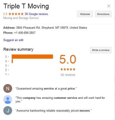 Triple T Moving - Location