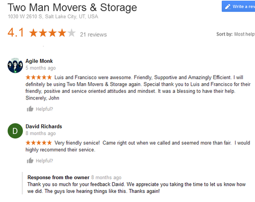 Two Man Movers and Storage - Moving reviews
