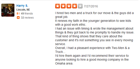Two Men and a Truck - Moving review