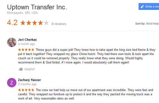 Uptown Transfer – Moving reviews
